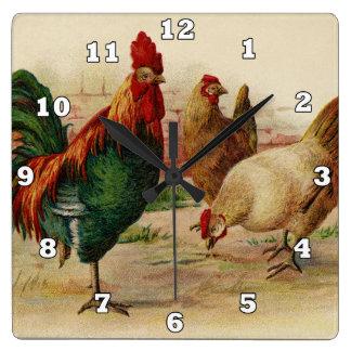 ヴィンテージのオンドリおよび鶏の国の壁の装飾 スクエア壁時計