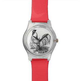 ヴィンテージのオンドリの絵 腕時計