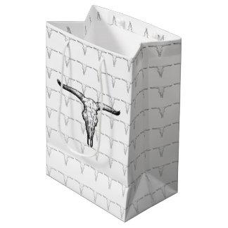 ヴィンテージのオーロックスのスカルの絵 ミディアムペーパーバッグ