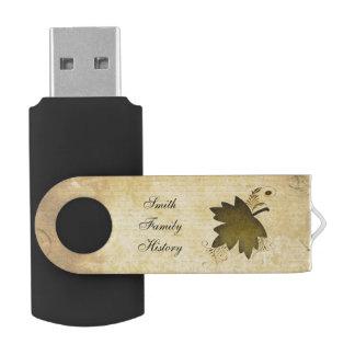 ヴィンテージのカエデの葉の家系歴 USBフラッシュドライブ