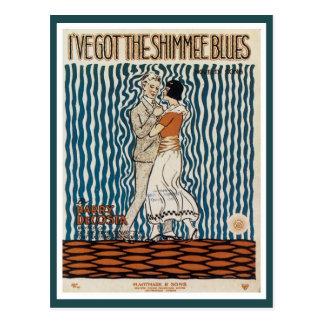 ヴィンテージのカップルのshimmeeの青音楽カバー ポストカード