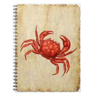 ヴィンテージのカニのデザイン ノートブック