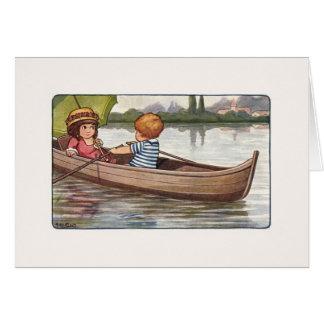 ヴィンテージのカヌーの乗車のメッセージカード カード