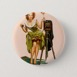 ヴィンテージのカメラのピンナップの女の子 5.7CM 丸型バッジ