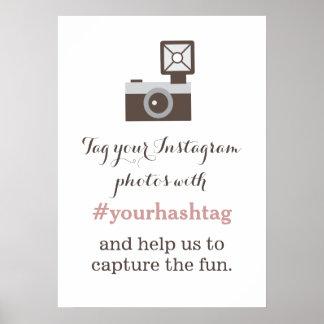 ヴィンテージのカメラのInstagramの写真のHashtagの印 ポスター