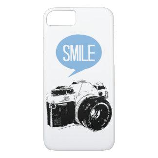 ヴィンテージのカメラ、スマイルの文字の気球、カメラマン iPhone 8/7ケース