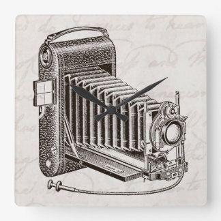 ヴィンテージのカメラ-旧式なカメラの写真撮影のレトロ スクエア壁時計