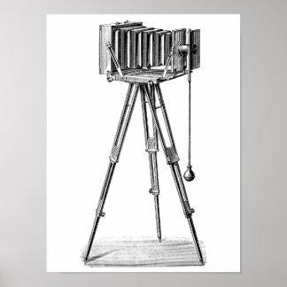 ヴィンテージのカメラ-旧式なカメラの写真撮影の黒 ポスター