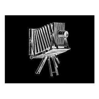 ヴィンテージのカメラ-旧式なカメラの写真撮影の黒 ポストカード