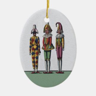 ヴィンテージのカラフルでお洒落な3つのこっけい者の人形 セラミックオーナメント