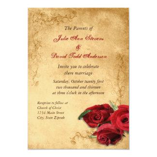 ヴィンテージのカラメルブラウン及びばら色の結婚式 カード