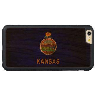ヴィンテージのカンザスのグランジな州の旗 CarvedチェリーiPhone 6 PLUSバンパーケース