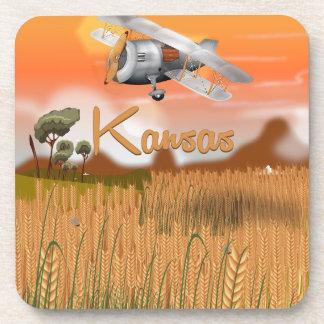ヴィンテージのカンザスの小麦畑旅行ポスター コースター