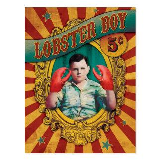 ヴィンテージのカーニバルの余興のロブスターの男の子 ポストカード
