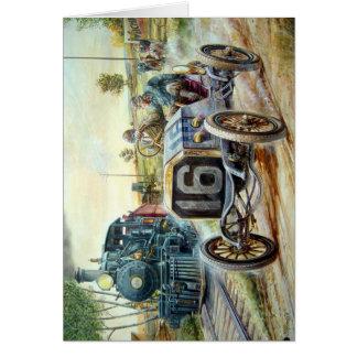 ヴィンテージのカーレース場面、列車の絵画 カード