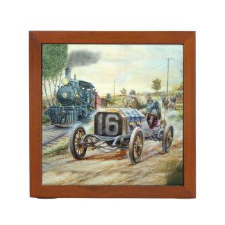 ヴィンテージのカーレース場面、列車の絵画 ペンスタンド