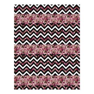 ヴィンテージのガーリーなピンクのシェブロンの花柄パターン チラシ
