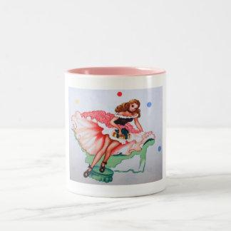 ヴィンテージのガーリーな生地のマグ ツートーンマグカップ