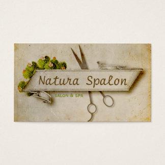 ヴィンテージのガーリーな美容師は自然な紙を切ります 名刺