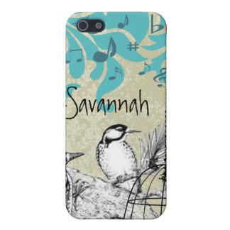 ヴィンテージのキツツキの黒い鳥籠のダマスク織のiPhone iPhone 5 Case