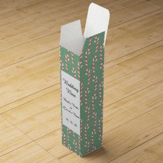 ヴィンテージのキャンディ・ケーンパターン ワインギフトボックス