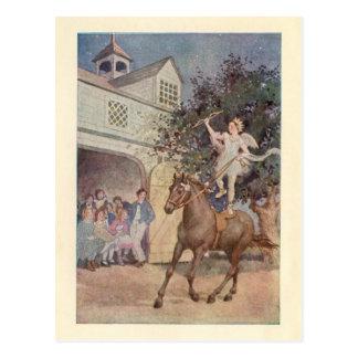 ヴィンテージのキューピッドの子供の天使及び馬w/Bowおよび矢 ポストカード