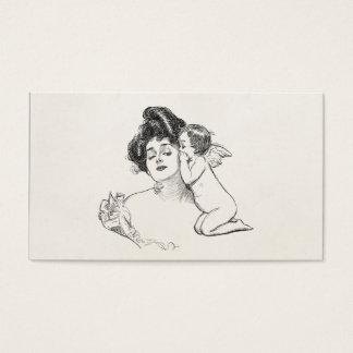 ヴィンテージのギブソン・ガールのEdwardianの女性のベビーの天使 名刺