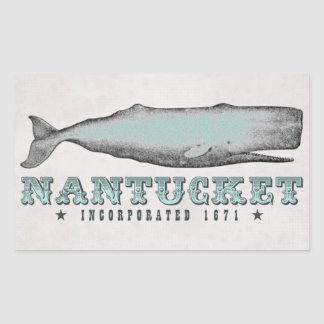 ヴィンテージのクジラのNantucket MA株式会社1671のステッカー 長方形シール