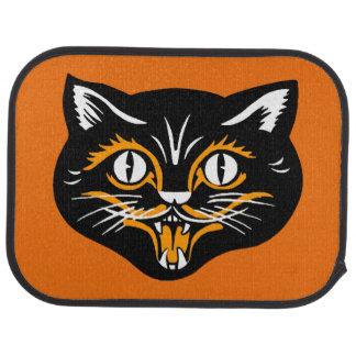ヴィンテージのクラシックなハロウィンの黒猫の顔の牙 車 フロアマット