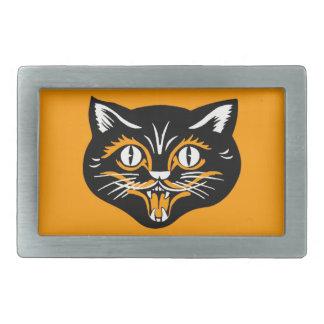 ヴィンテージのクラシックなハロウィンの黒猫の顔の牙 長方形ベルトバックル