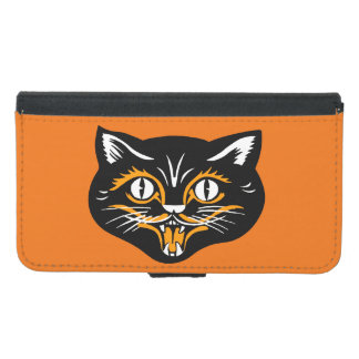 ヴィンテージのクラシックなハロウィンの黒猫の顔の牙 GALAXY S5 ウォレットケース