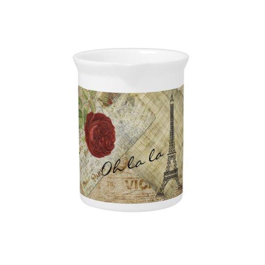 ヴィンテージのクラシックなパリのスタイル-赤いバラ ピッチャー