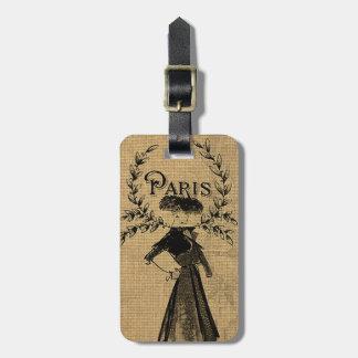 ヴィンテージのクラシックなパリの女性 ラゲッジタグ
