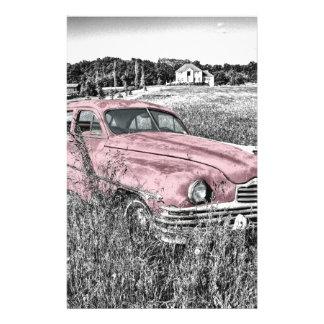 ヴィンテージのクラシックなピンク車 便箋