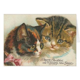 ヴィンテージのクリスマスおよび新年猫 カード