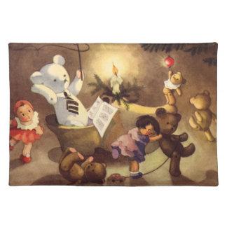 ヴィンテージのクリスマスのおもちゃ、踊る人形、テディー・ベア ランチョンマット