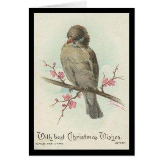 ヴィンテージのクリスマスのすずめ カード