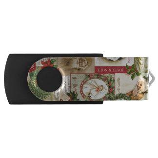 ヴィンテージのクリスマスのコラージュ USBフラッシュドライブ
