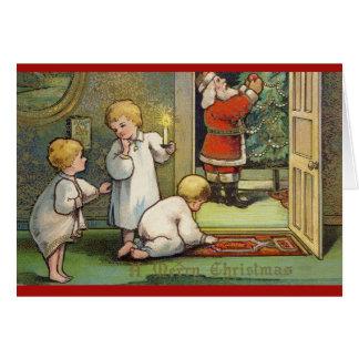 ヴィンテージのクリスマスのサンタの木の挨拶状 カード