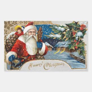 ヴィンテージのクリスマスのサンタクロースのステッカー 長方形シール