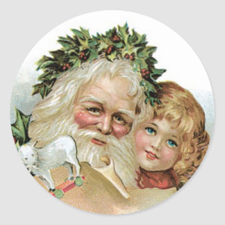 ヴィンテージのクリスマスのシールかステッカー ラウンドシール