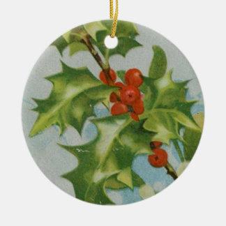 ヴィンテージのクリスマスのヒイラギのアートワーク セラミックオーナメント
