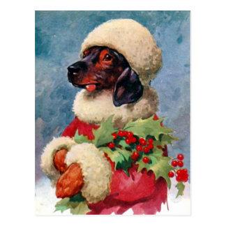 ヴィンテージのクリスマスのヒイラギのダックスフントの郵便はがき ポストカード