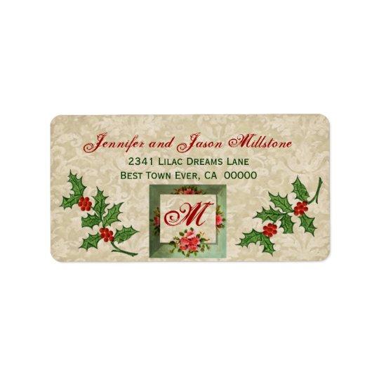 ヴィンテージのクリスマスのヒイラギのラベル 宛名ラベル