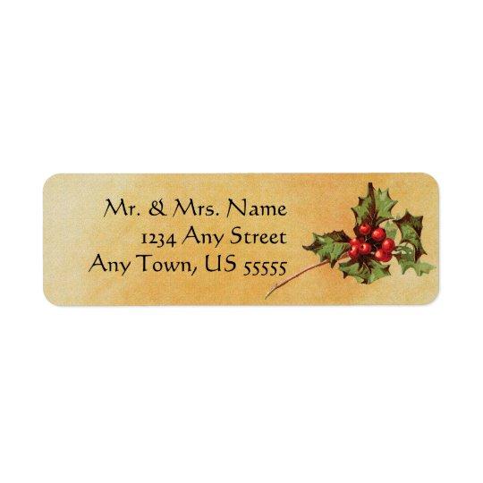 ヴィンテージのクリスマスのヒイラギの宛名ラベル 返信用宛名ラベル