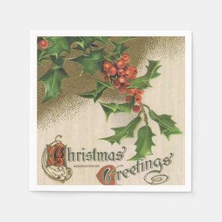 ヴィンテージのクリスマスのヒイラギの紙ナプキン スタンダードカクテルナプキン