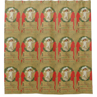 ヴィンテージのクリスマスのリースの女の子 シャワーカーテン