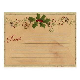 ヴィンテージのクリスマスのレシピカード ポストカード