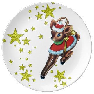 ヴィンテージのクリスマスのレトロのトナカイの磁器皿 磁器プレート