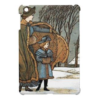 ヴィンテージのクリスマスの冬場面、女の子、鳥、雪 iPad MINIケース